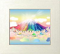 虹色富士山から舞い降りる虹天使