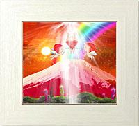 赤富士に降り注ぐ光を受け取る天使と水晶たち