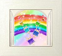 純白の自由の扉から輝く虹へと続く