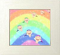 虹の中から輝く虹天使