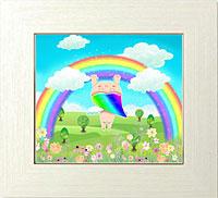 幸せをもたらす虹のアーチと虹天使