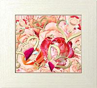 ピンク薔薇と黄金ハート