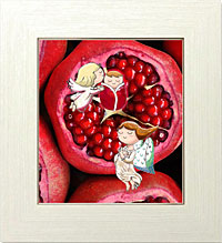 ザクロの果実に受胎告知に来る大天使ガブリエルと天使たち